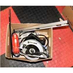 BOX OF TOOLS INCL BLACK & DECKER JIG SAW, BLACK