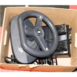 VIDEO GAME STEERING WHEEL & PEDAL SYSTEM.