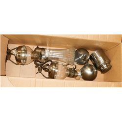BOX OF SILVER  PLATE SERVING DISHES AND BAR