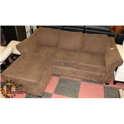 DARK BROWN CHENILLE SECTIONAL-REVERSIBLE
