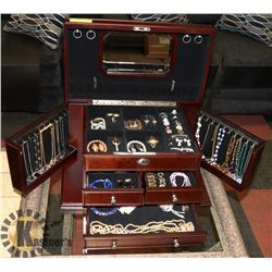 DARK WOOD JEWELLERY BOX WITH VANITY MIRROR AND