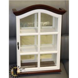 WALL MOUNTED CURIO CABINET - WHITE W/BROWN