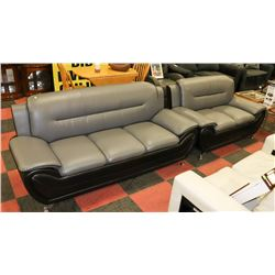 TWO TONE BLK/GREY CHROME LEGS 75  SOFA W/ 59