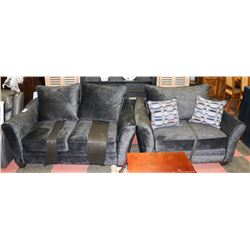 PAIR OF NEW CHARCOAL GREY SOFT FABRIC LOVESEATS
