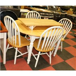 "TWO TONE WOOD TABLE WITH 4 CHAIRS AND 18"" LEAF,"