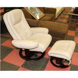 BEIGE LEATHERETTE RECLINING LOUNGE CHAIR WITH