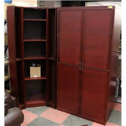 4PC CHERRY WOOD TONE CORNER CABINET SET.