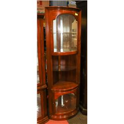 "ESTATE WOOD CORNER CURIO CABINET, 17""X17""X72""."