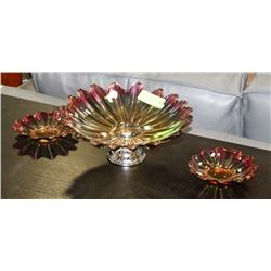 VINTAGE CARNIVAL GLASS PEDESTAL FRUIT DISH WITH