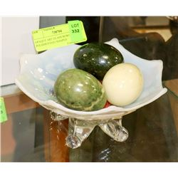 OPAQUE ART GLASS BOWL WITH POLISHED EGG SHAPED