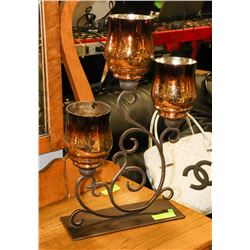 LARGE SHOWHOME PEDESTAL 3 CANDLE HOLDER.