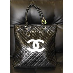 CHANEL REPLICA BLACK BAG, WHITE LOGO