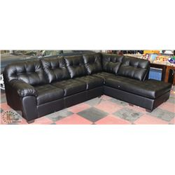 NEW LARGE BLACK LEATHERETTE SECTIONAL L-SHAPED
