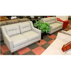 "PAIR OF GREY FABRIC 56"" LOVE SEATS"