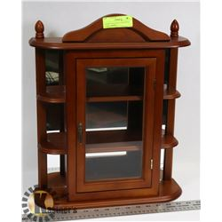 CHERRY WOOD WALL MOUNTED CURIO CABINET -