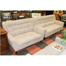 "BEIGE FABRIC 82"" SOFA WITH 61"" LOVE SEAT."