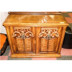"ESTATE WOOD CARVED STYLE CABINET, 40""X14""X31""."