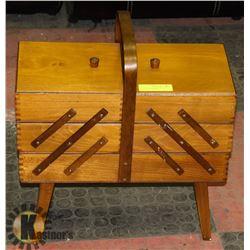 VINTAGE ACCORDIAN WOOD SEWING BOX. HOME,