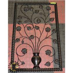 BLACK FLOWER & LEAF MOTIF WALL ACCENT PIECE -
