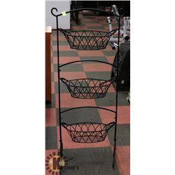 'GOURMET BASICS' 3 TIER STEEL WIRE FRAME  BASKET