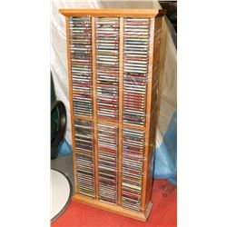 ESTATE OAK MEDIA STAND WITH CD'S