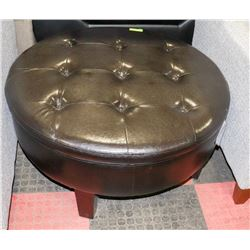 DARK BROWN/BLACK LEATHERETTE ROUND STORAGE