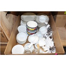 BOX OF ASSORTED SERVING DISHWARE & SILVERWARE SETS