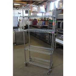 4 TIER CHROME-WIRE STORAGE RACK W/ CASTORS