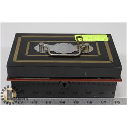 ANTIQUE METAL CASH BOX WITH KEY ENGLAND