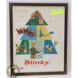 FRAMED SLINKY TOY VINTAGE AD