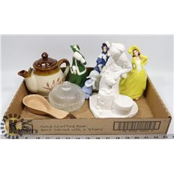 COLLECTIBLE FIGURINES, TEA KETTLE AND CANDY DISH.