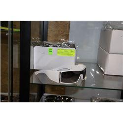 BOX OF WHITE DESIGNER SUNGLASSES WITH BLACK LENSE