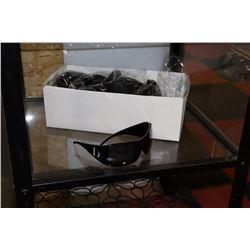 BOX OF SOLID BLACK DESIGNER SUNGLASSES