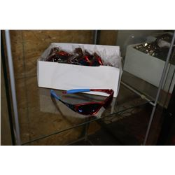 BOX OF OAKLEY STYLE RED WITH BLUE LENSE SUNGLASSES