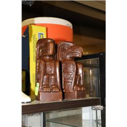 SET OF TOTEM POLE WOOD CARVED BOOKENDS