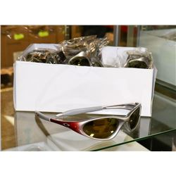 BOX OF OAKLEY STYLE SILVER AND RED DESIGNER