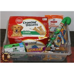 CASE OF ASSORTED DOG BISCUITS AND TREATS.