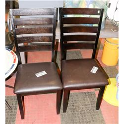 PAIR OF WOOD AND LEATHERETTE SIDECHAIRS