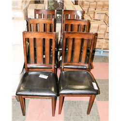 SET OF 6 WOOD AND LEATHERETTE SIDECHAIRS