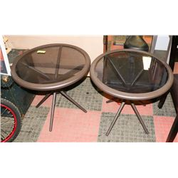 PAIR OF METAL AND GLASS PATIO END TABLES