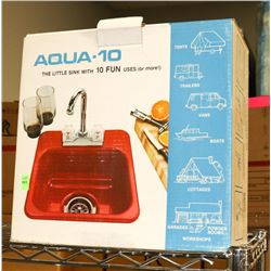 RED AQUA 10 LITTLE SINK WITH 10 FUN USES-FAUCET