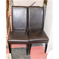 NEW PAIR OF BROWN LEATHERETTE TALL BACK DINING