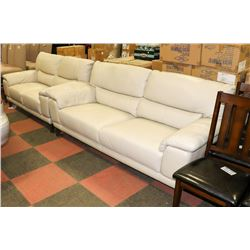 """OFF WHITE LEATHERETTE 79"""" SOFA WITH 67"""" LOVE SEAT"""