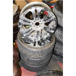 LOT OF 4 RIMS, UNIVERSAL 4 BOLT WITH 3 TIRES