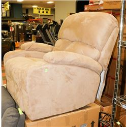 PAIR OF NEW BEIGE FABRIC ROCKER RECLINING CHAIRS