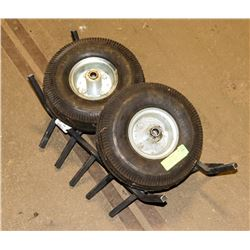 PAIR OF 2 DOLLY WHEELS AND FIRE PLACE GRATE