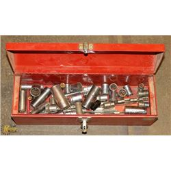 RED AND GRAY TOOL BOX WITH TOOLS