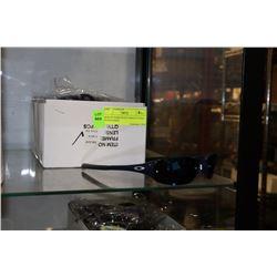 BOX OF DARK BLUE OAKLEY STYLE SUNGLASSES