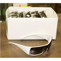 BOX OF CHANEL STYLE WHITE DESIGNER SUNGLASSES