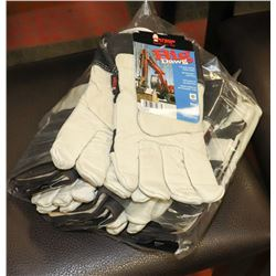 PK OF 6 BIG DAWG LEATHER WORK GLOVES SIZE L